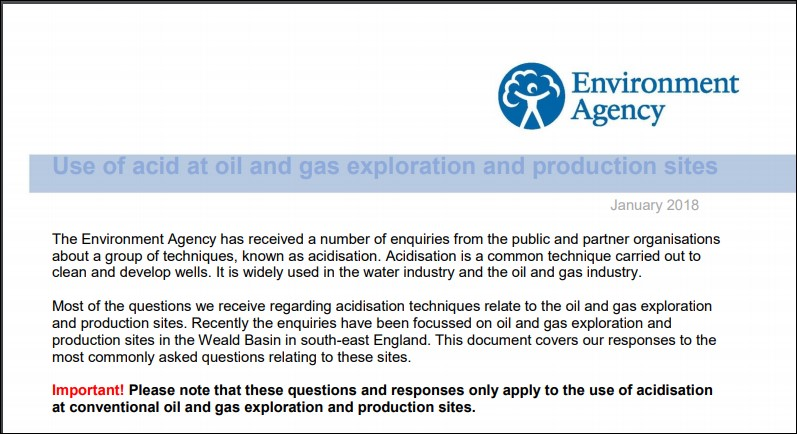 Environment Agency use of acid at oil and gas sites