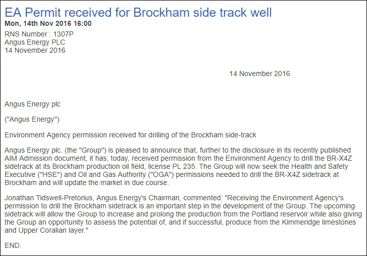 161114 EA permit for Brockham sidetrack