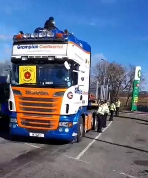Lorry surfing protest at Forton services on M6, 26 March 2018. Photo: Still from video by Bob Dennett