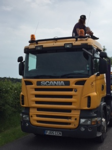 Lorry protest outside the IGas shale gas site at Tinker Lane, north Nottinghamshire, 11 June 2018. Photo: Jon Mager