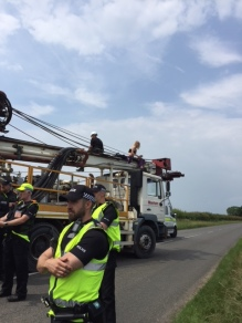 Lorry surfing protest outside the IGas shale gas site at Tinker Lane, north Nottinghamshire, 11 June 2018. Photo: Tina English