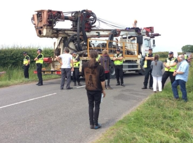 Lorry protest outside the IGas shale gas site at Tinker Lane, north Nottinghamshire, 11 June. Photo: Tina English