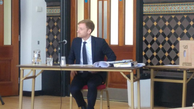 Local Conservative MP, Lee Rowley, giving evidence against the Marsh Lane plans. Photo: DrillOrDrop