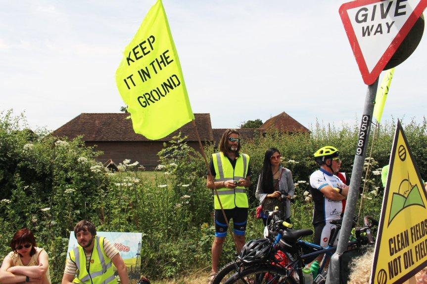 Tour de Frack protest at Horse Hill, Surrey. Photo: Jon O'Houston