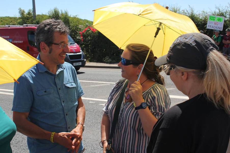 George Monbiot meets campaigners at Cuadrilla's Preston New Road shale gas site, 25 June 2018. Photo: Refracktion