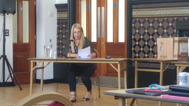 Marsh Lane headteacher, Fiona Marsh, giving evidence against the Marsh Lane plans. Photo: DrillOrDrop
