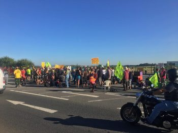 Block Around the Clock outside Cuadrilla's Preston New Road shale gas site, 28/6/2018. Photo: Gathering Place Films