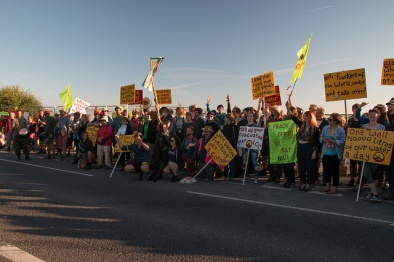 Block Around the Clock outside Cuadrilla's Preston New Road shale gas site, 28/6/2018. Photo: Reclaim the Power