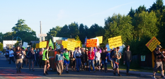 March to Cuadrilla's Preston New Road site for the start of the Block Around the Clock event. Photo: Reclaim the Power