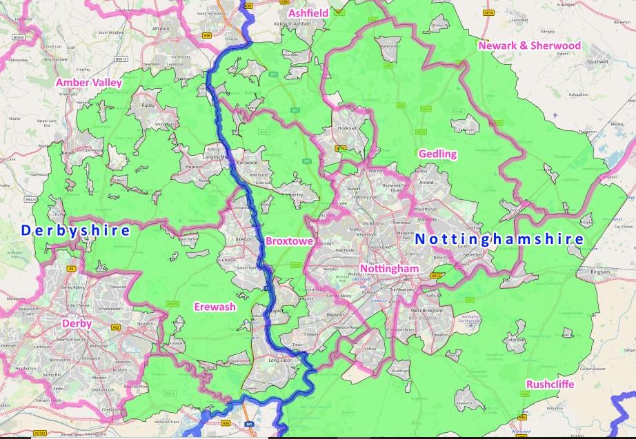 Derbyshire and Nottinghamshire green belt