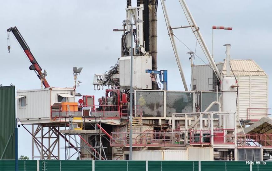 Drilling rig at Cuadrilla's Preston New Road site near Blackpool, 20 June 2018. Photo: Ros Wills