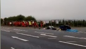 Lock-on protest, Cuadrilla's Preston New Road site, near Blackpool, 24 July 2018. Photo: from video by Frances Smart