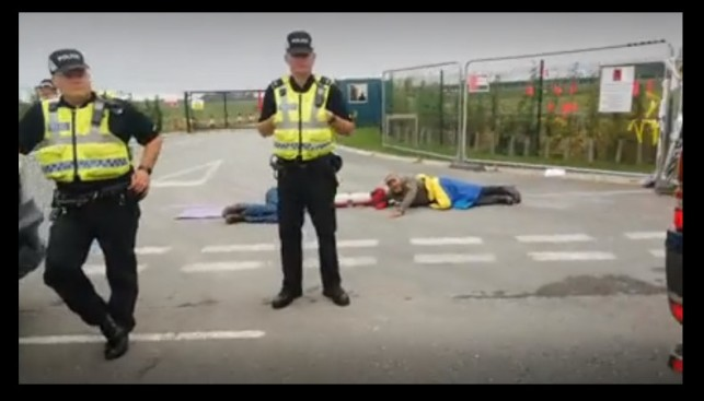 Lock-on protest, Cuadrilla's Preston New Road site, near Blackpool, 24 July 2018. Photo: from video by Tina Rothery
