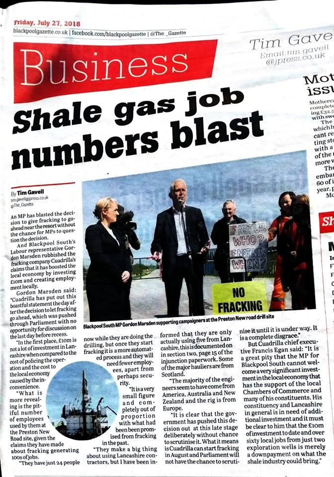 180727 Blackpool Gazette on Cuadrilla jobs claim