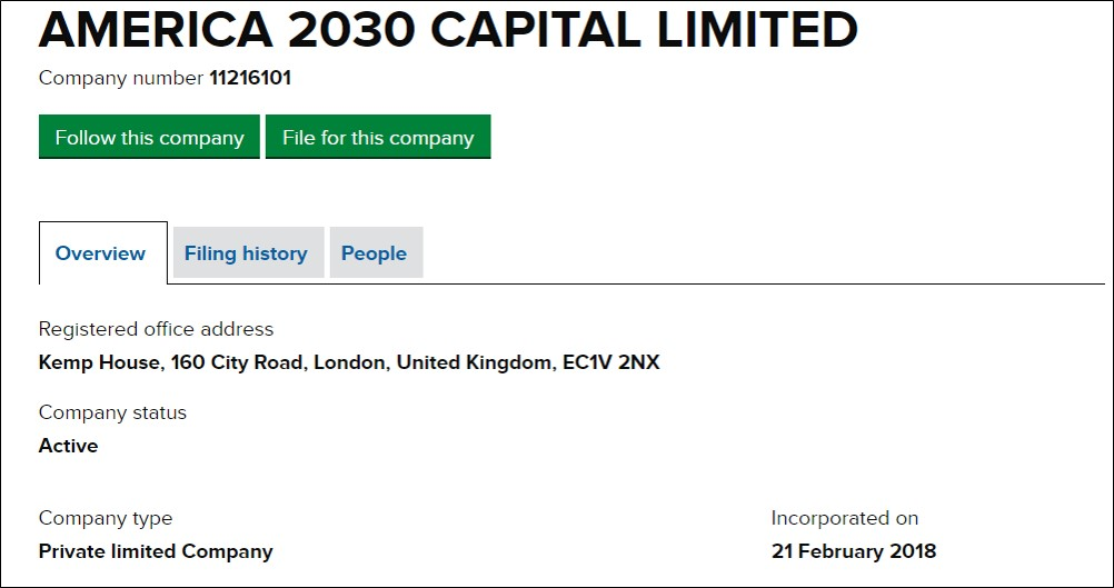 America 2030 Capital Limited Companies House