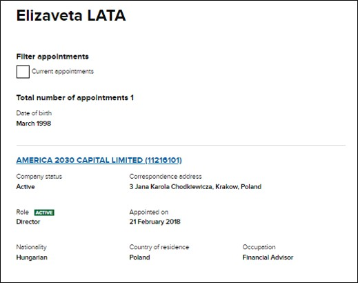 Elizaveta Lata Companies House entry