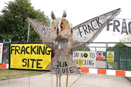 Shale gas protest at the IGas Springs Road site at Misson, Nottinghamshire. Photo: Frack Free Mission, 4 August 2018