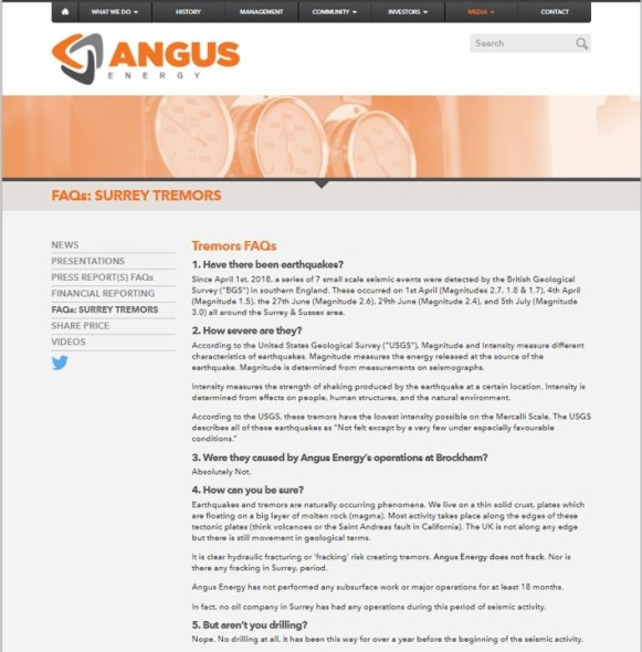 Screen grab of Angus Energy web page taken on 15 August 2018.