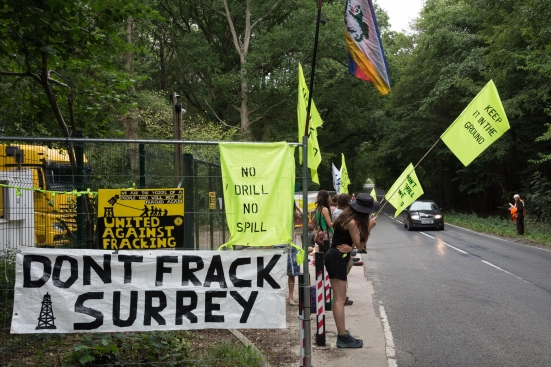 Protest outside the Horse Hill site in Surrey, 20 August 2018. Photo: RodHarbinson.com