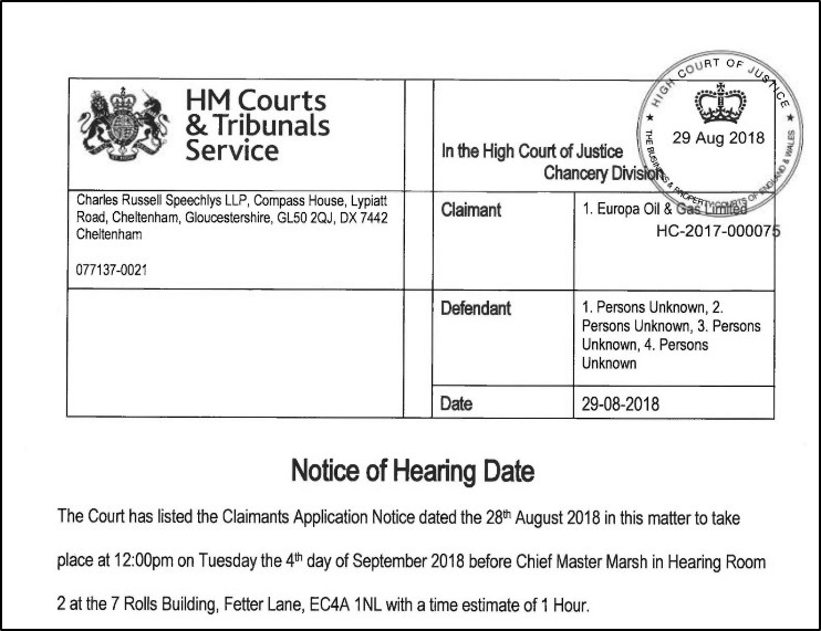 180829 Europa injunction application Leith Hill