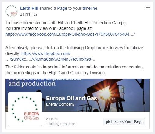 180829 Europa social media post on Leith Hill