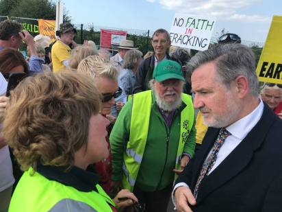 Barry Gardiner MP visits shale gas sites in Lancashire, 31 August 2018. Photo: Refracktion