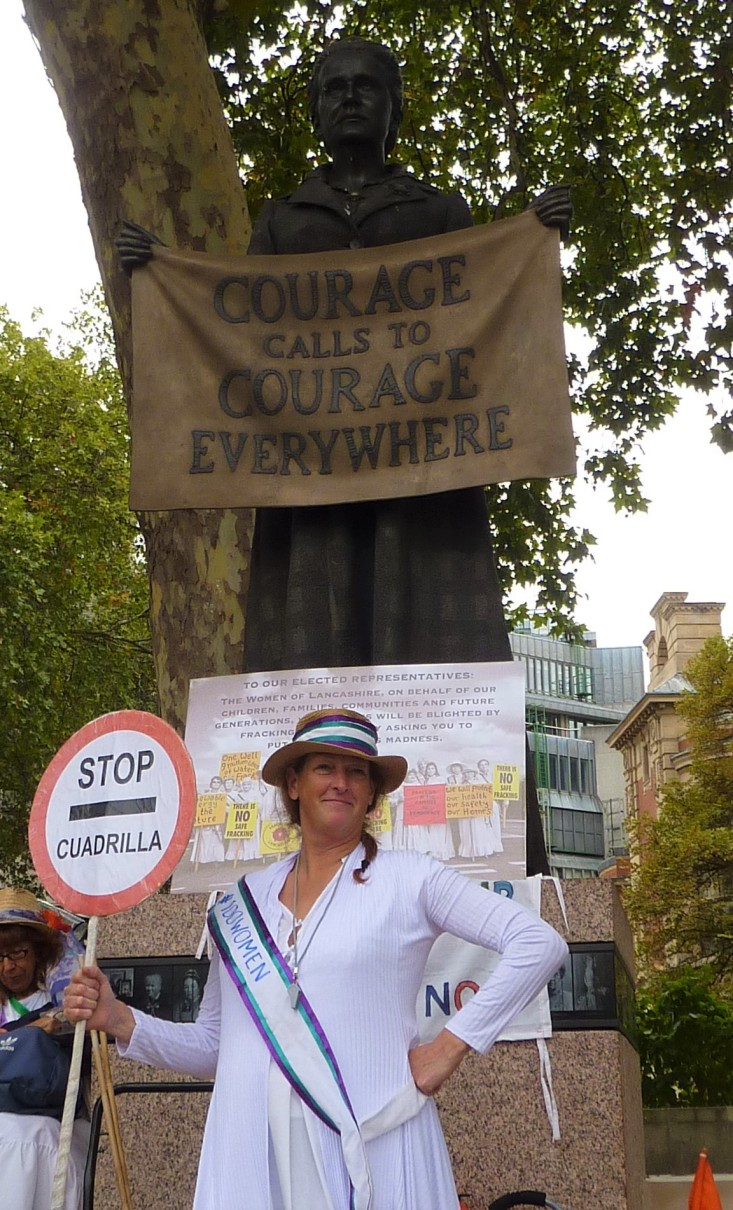 100 Women participant at the Millicent Fawcett statue, Parliament Square. Photo: DrillOrDrop 12/9/2018