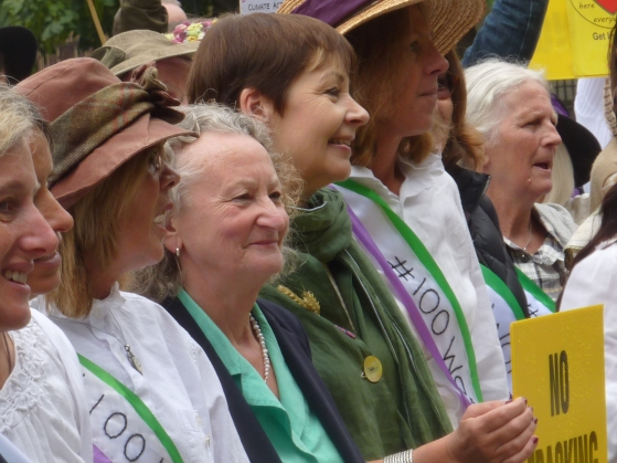 Baroness Jenny Jones and Caroline Lucas MP at 100 Women rally, Parliament Square. Photo: DrillOrDrop