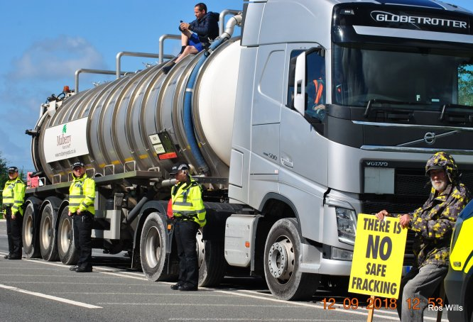 Lorry protest outside Cuadrilla's Preston New Road site, 12 September 2018. Photo: Ros Wills