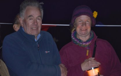 Opponents of Third Energy's fracking plans gather for a candlelit vigil outside the KM8 well site, 19 September 2018. Photo: Dave Marris