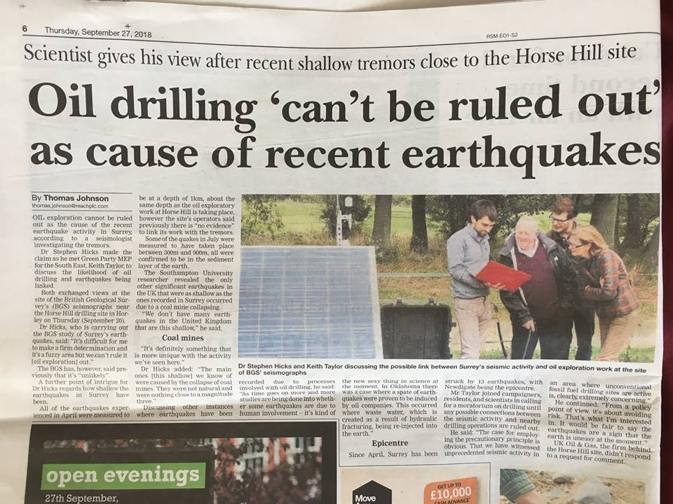 180927 Dorking Advertiser on earthquakes