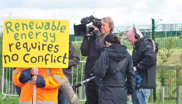 Outside Cuadrilla's Preston New Road shale gas site near Blackpool. Photo: Ros Wills, 24/8/2018