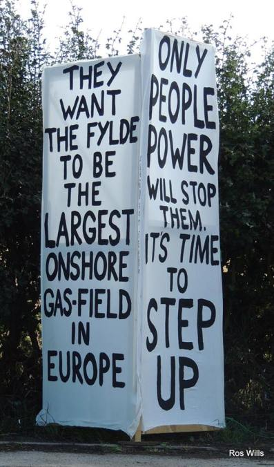 Anti-fracking placards outside Cuadrilla's shale gas site at Preston New Road. Photo: Ros Wills, 24 August 2018