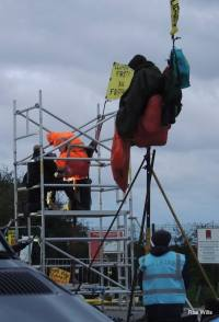 Protest outside Cuadrilla's Preston New Road shale gas site, overnight on 1-2 October 2018. Photo: Ros Wills