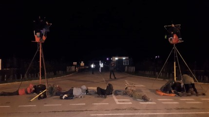 Lock-on protest outside Cuadrilla's Preston New Road site near Blackpool, 1 October 2018. Used with the owner's consent