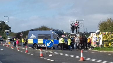 Protest outside Cuadrilla's Preston New Road shale gas site, 2 October 2018. Photo: Eddie Thornton