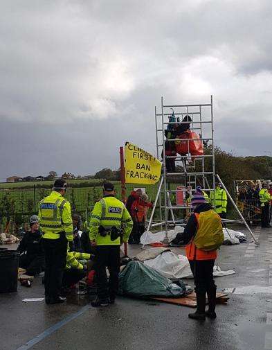 Protest outside Cuadrilla's Preston New Road shale gas site, 2 October 2018. Photo: Eddie Thornton