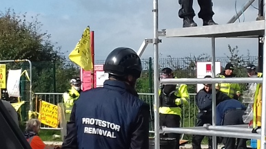 Protest outside Cuadrilla's Preston New Road shale gas site, 2 October 2018. Photo: Used with the owner's consent