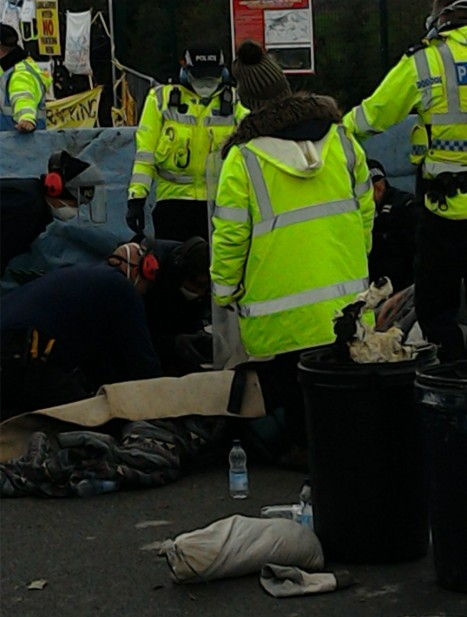 Protest outside Cuadrilla's shale gas site at Preston New Road, 3 October 2018. Photo: Used with owner's consent