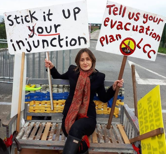 Campaigner and researcher, Helen Chuntso, outside Cuadrilla's shale gas site at Preston New Road, 5 October 2018. Photo: Bob Dennett