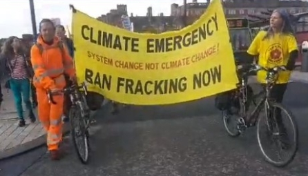 Protest in Preston against prison sentences imposed on three anti-fracking campaigners last week. Photo: Eddie Thornton, 6 October 2018