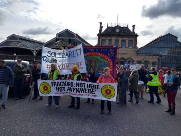 Protest in Preston against prison sentences imposed on three anti-fracking campaigners last week. Photo: Roseacre Awareness Group, 6 October 2018