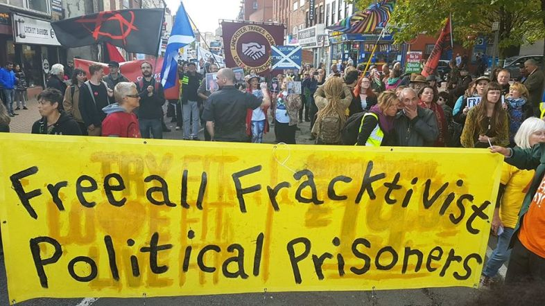 Anti-fracking protest in support of three men jailed last week. Photo: Eddie Thornton, 6 October 2018