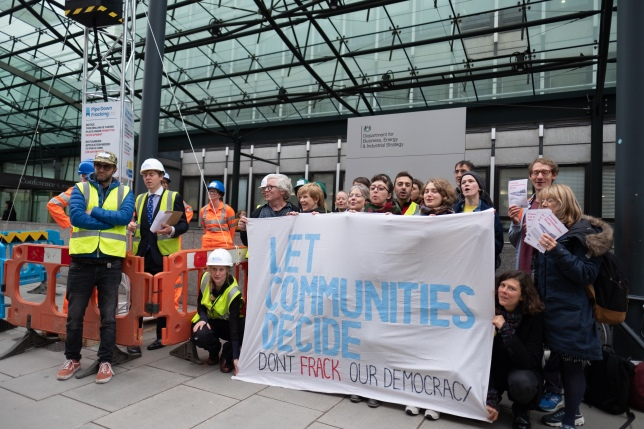 Protest outside the Department of Business, Energy and Industrial Strategy over government plans to fast-track fracking, 8 October 2018. Photo: H L Agrosdidier