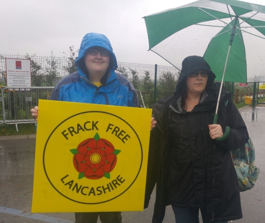 Protestors at Preston New Road site 13 October 2018 Photo: DrillOrDrop