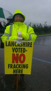 Protestors at Preston New Road site 13 October 2018 Photo: DrillOrDrop