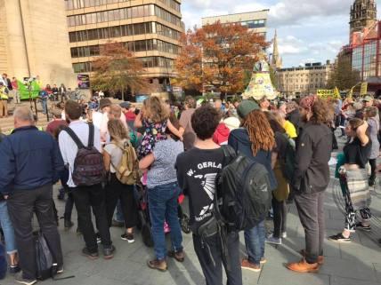 Global Frackdown Carnival in Sheffield city centre, 13 October 2018. Photo: Stephanie Mullen