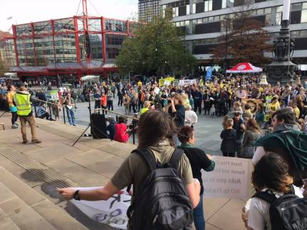 Global Frackdown Carnival in Sheffield city centre, 13 October 2018. Photo: Stephanie Mullen