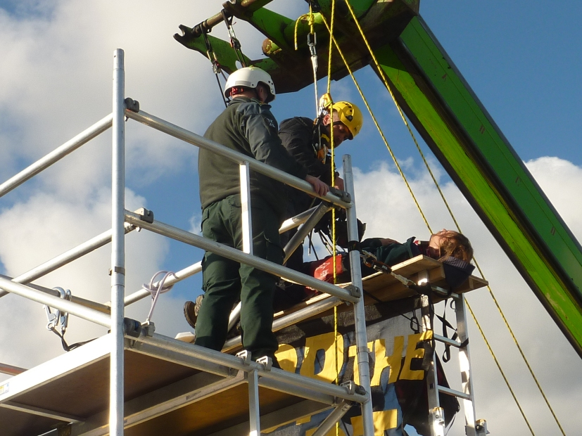 Preparations to removal lorry surf protester outside Cuadrilla's shale gas site on the day fraacking began, 15 October 2018. Photo: DrillOrDrop