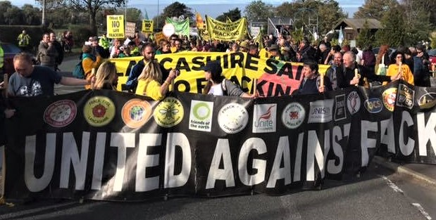National Climate Rally, near Cuadrilla site at Preston New Road, 20 October 2018. Photo: Refracktion